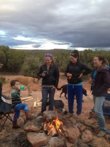 Andrew holding court fireside on BLM campsite outside Moab, Utah.